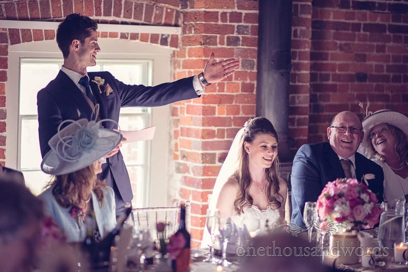 Groom during speech from wedding at Sopley Mill