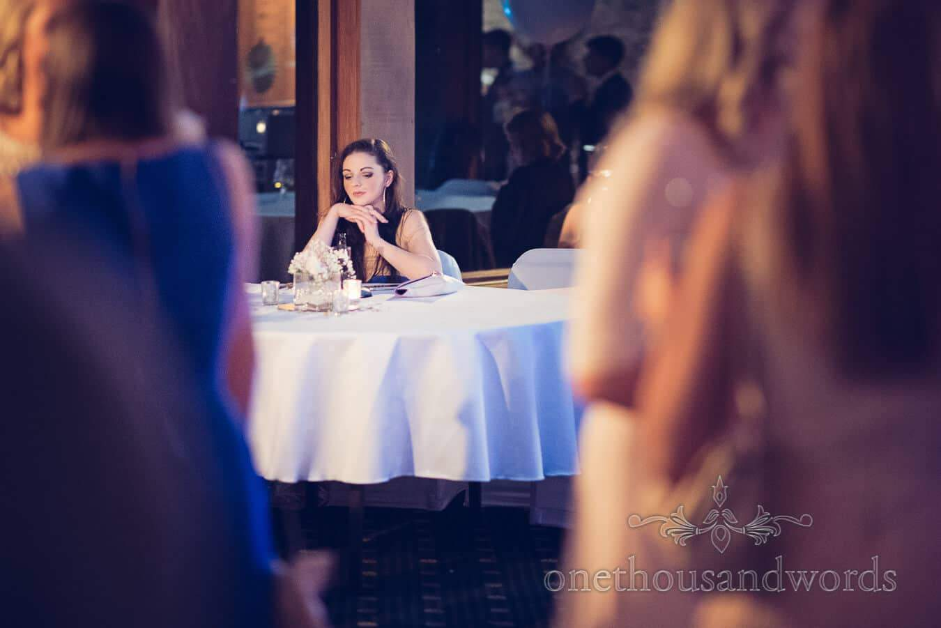 Guest at table from Purbeck Golf Club Wedding