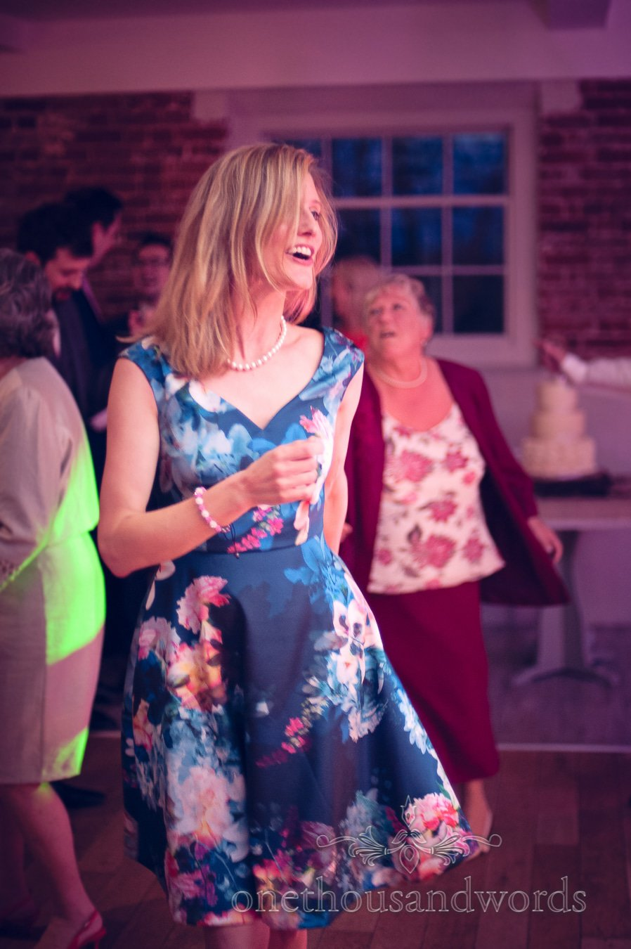 Guest dancing from wedding at Sopley Mill