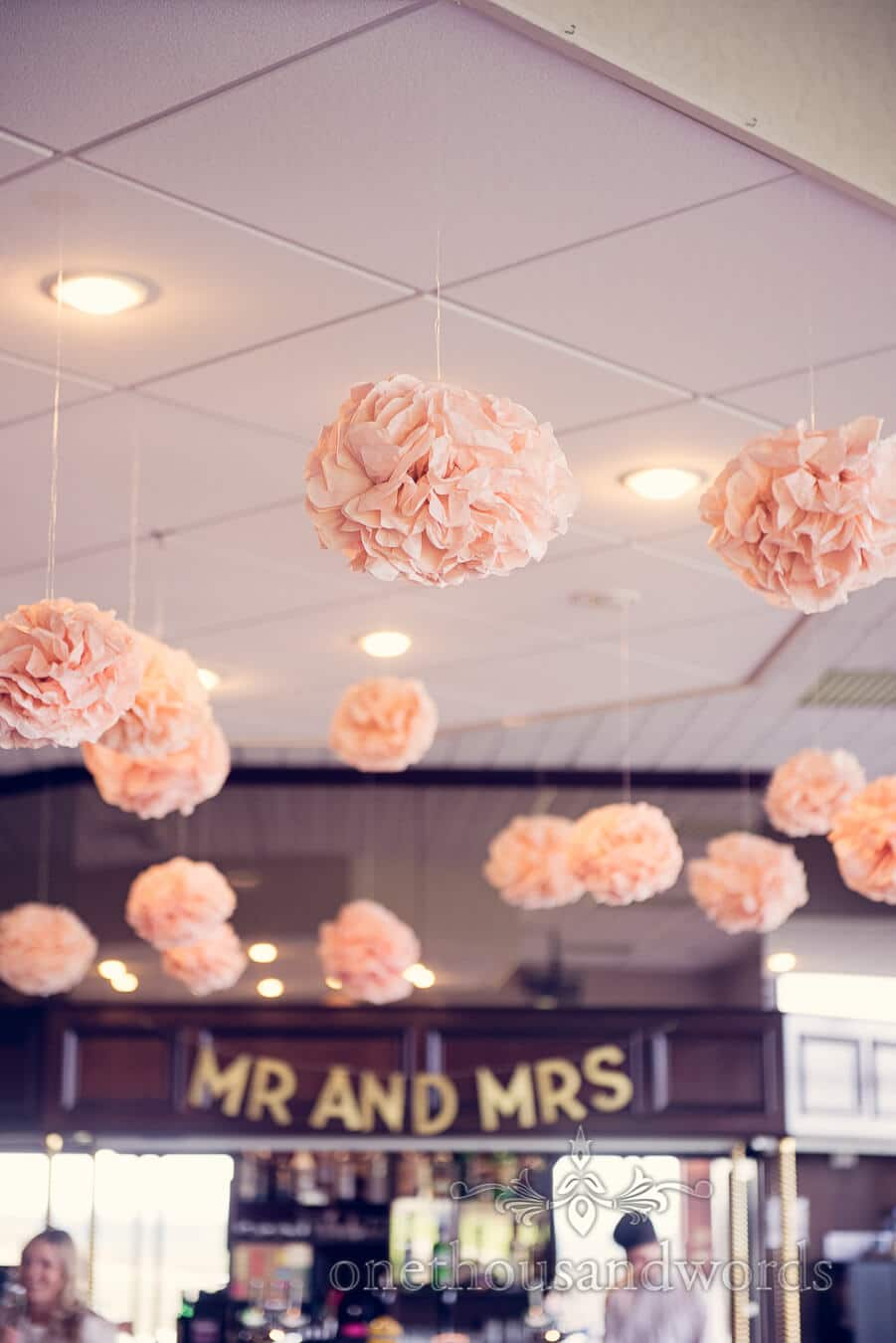 Hanging decorations and signage at Purbeck Golf Club Wedding
