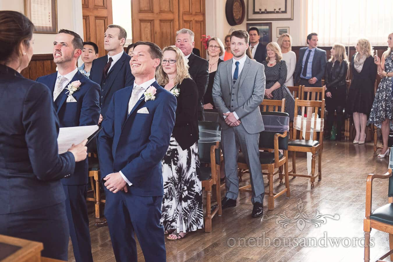 Laughs before civil ceremony at Swanage town hall