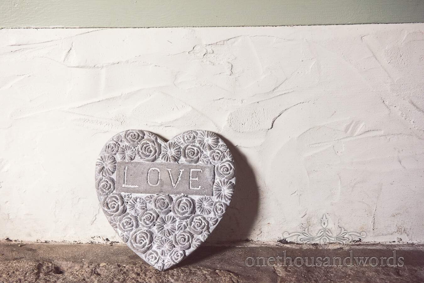 Love heart detail from wedding at Sopley Mill