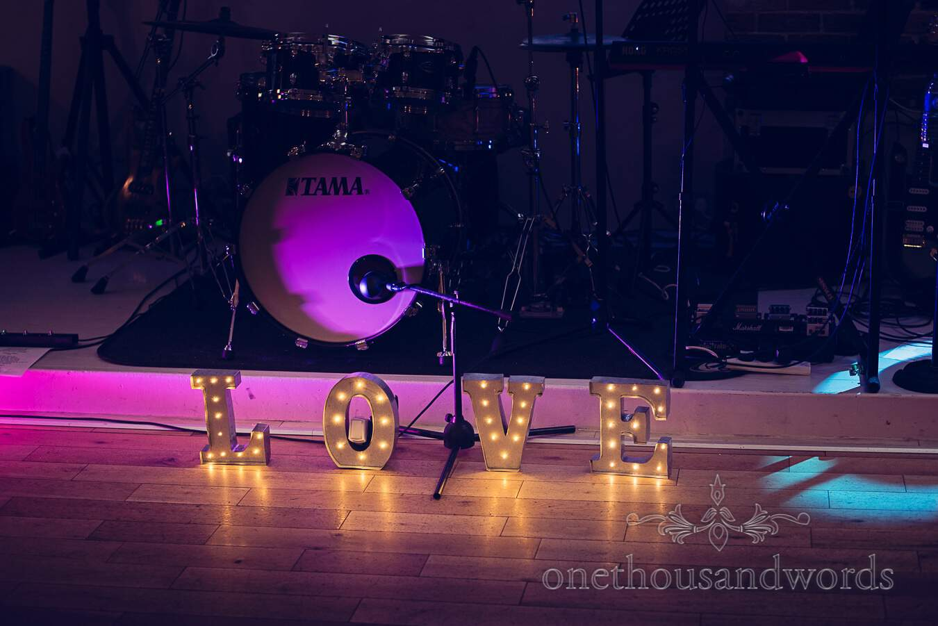 Love sign and drums from wedding at Sopley Mill
