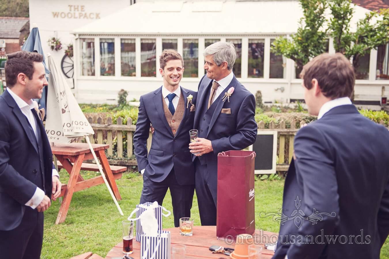 Pre-wedding drinks before wedding at Sopley Mill