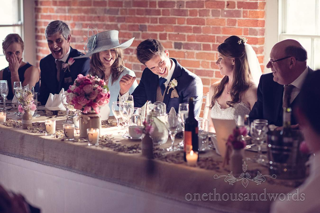 Top table reaction from wedding at Sopley Mill