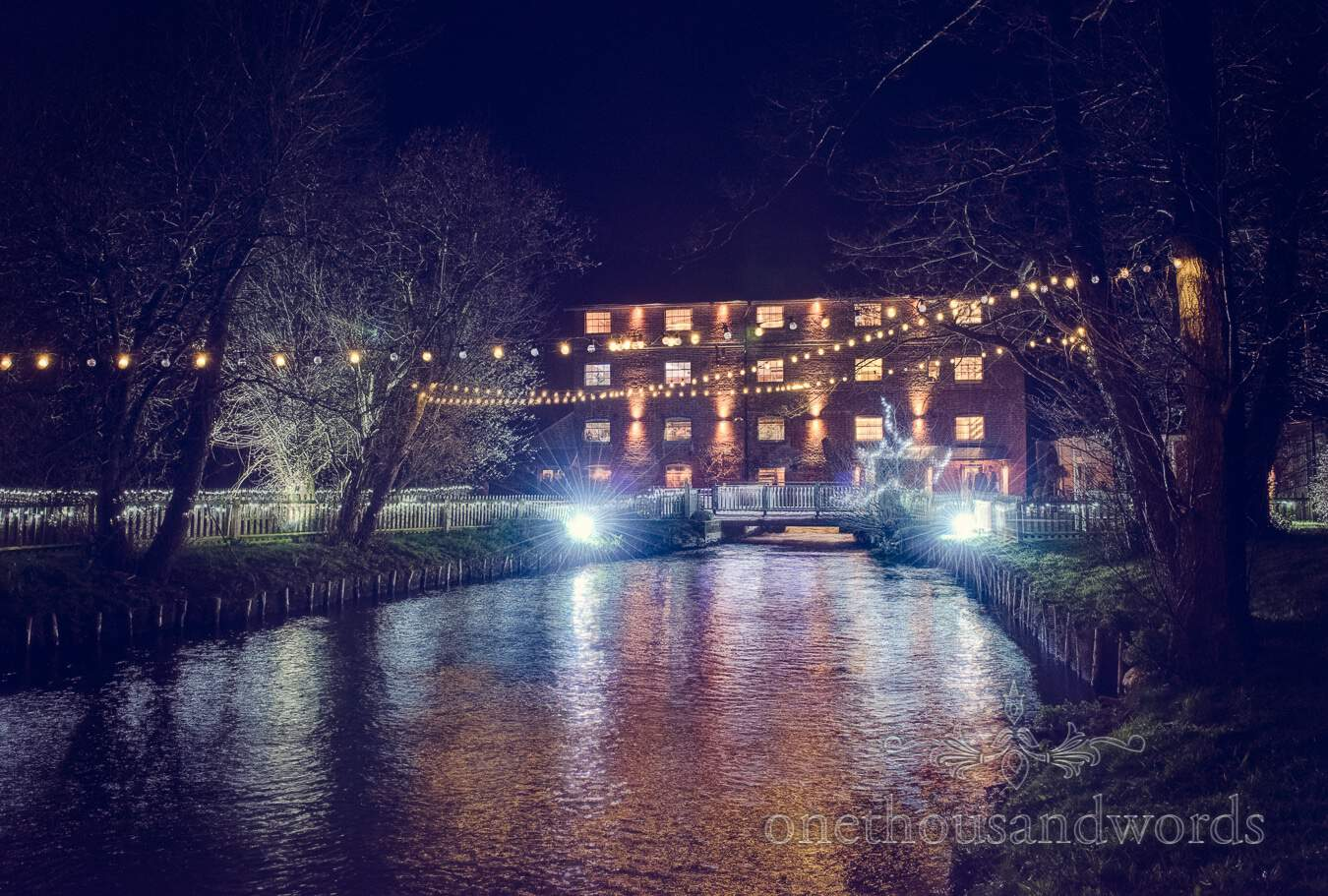 View across the river from wedding at Sopley Mill