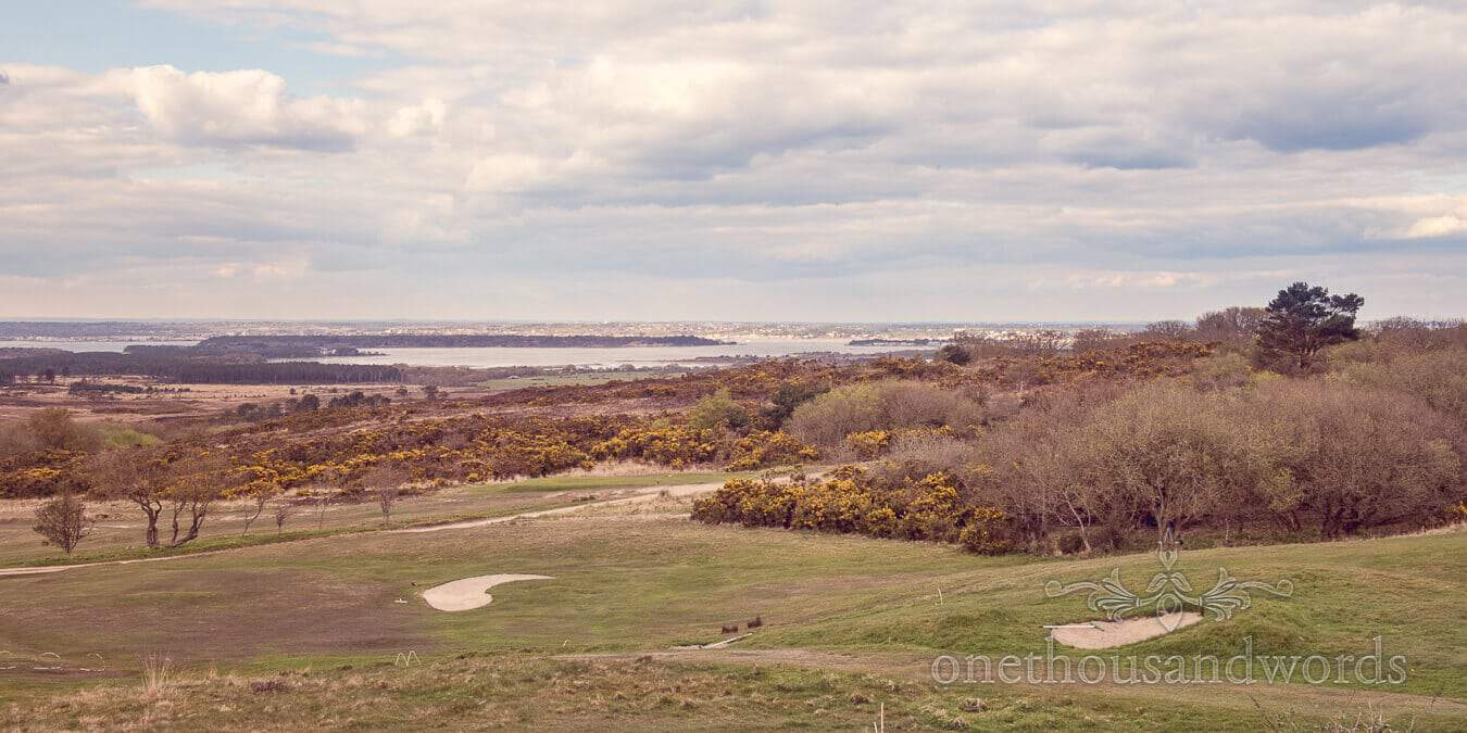 View of Poole harbour from course at Purbeck Golf Club Wedding
