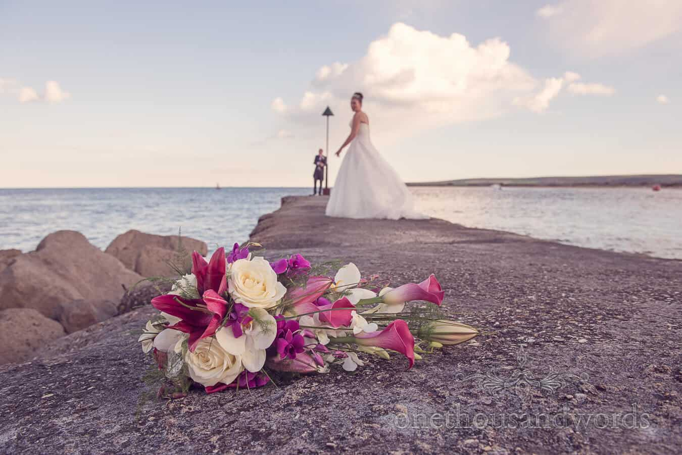 Pink and Yellow Wedding Bouquet at seaside