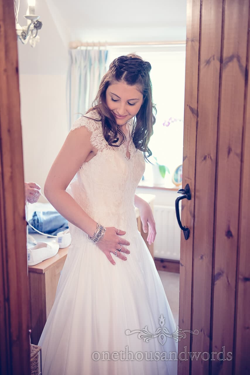 Bride on morning of Barn Wedding