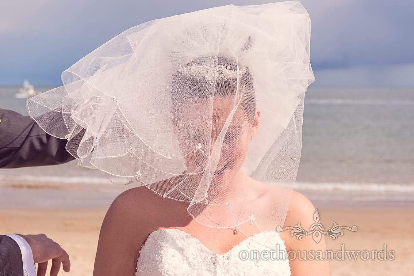 Bride through her veil at Haven hotel wedding