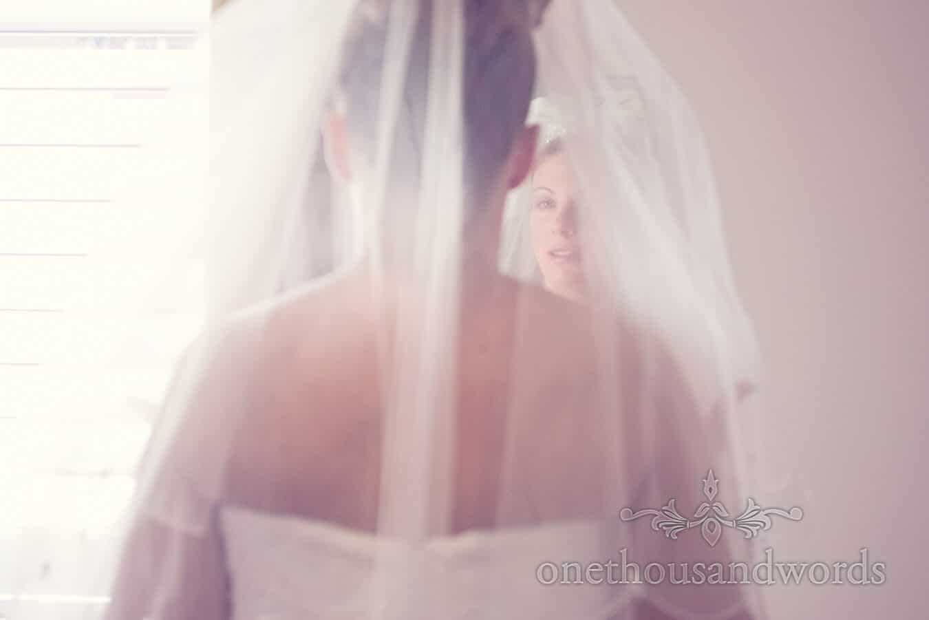 Bride through veil before Haven hotel wedding