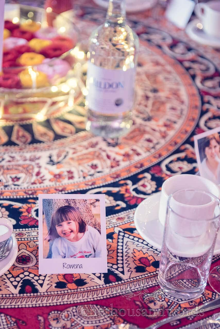 Brides place setting with old photo at Barn Wedding