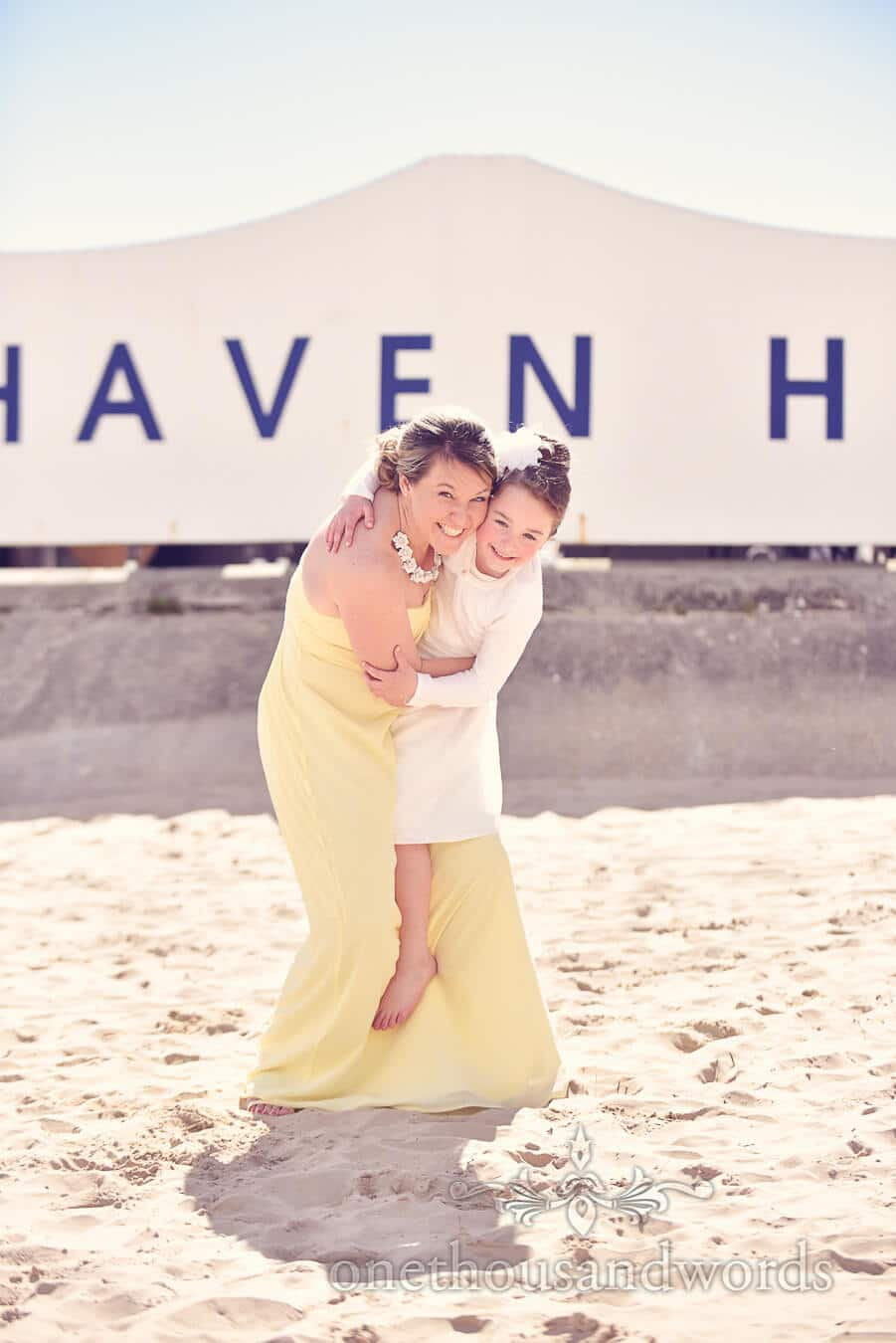 Yellow Bridesmaids dress and flower girl at Haven hotel wedding