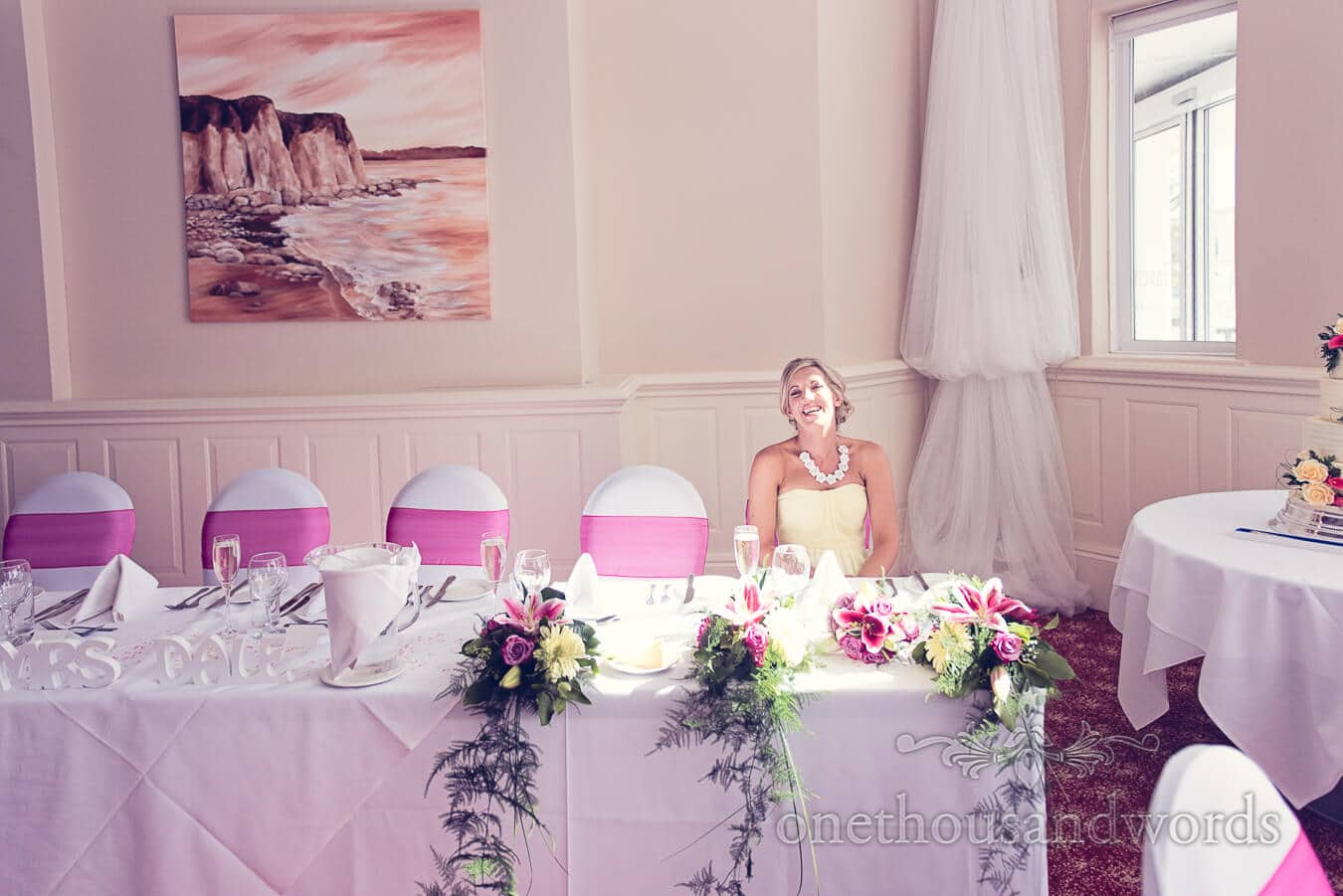 Bridesmaid at Pink and Yellow Wedding at Haven hotel