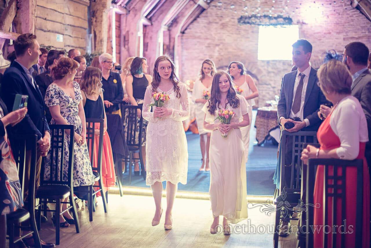 Bridesmaids at Barn Wedding