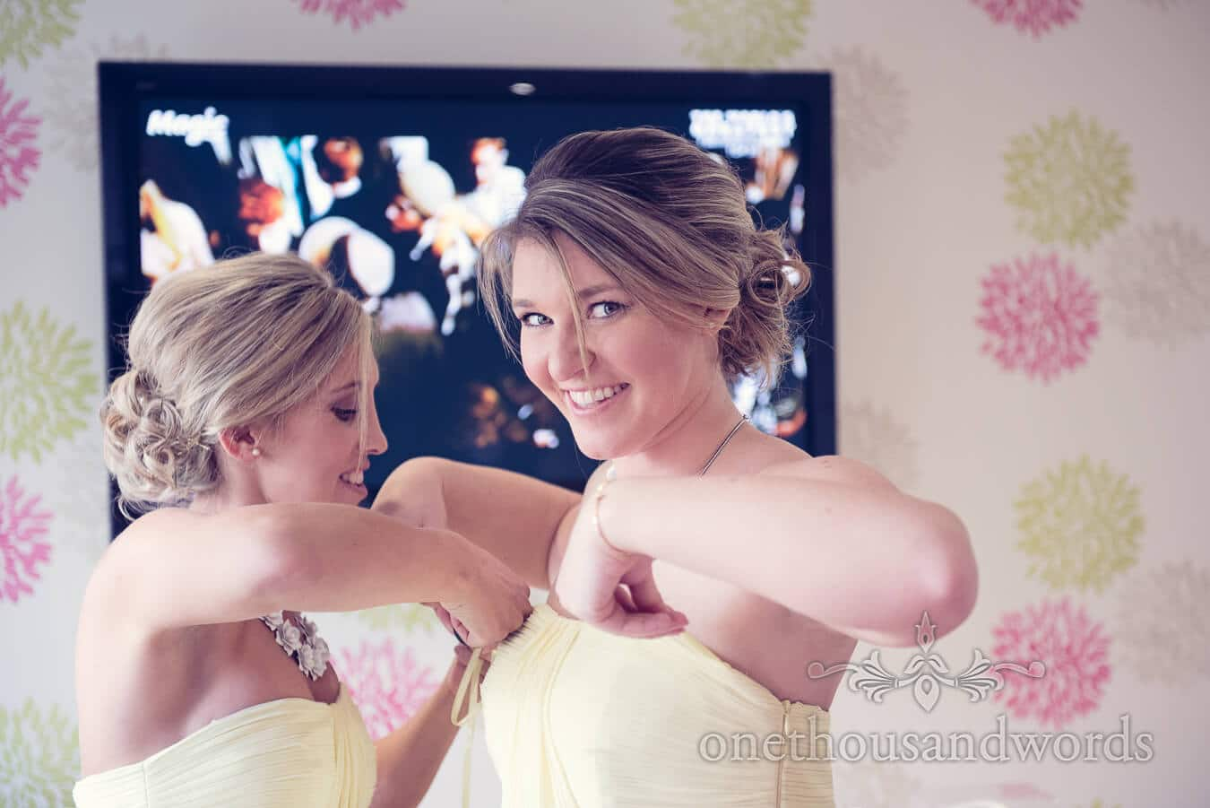 Bridesmaids in Yellow Dresses from Haven hotel wedding