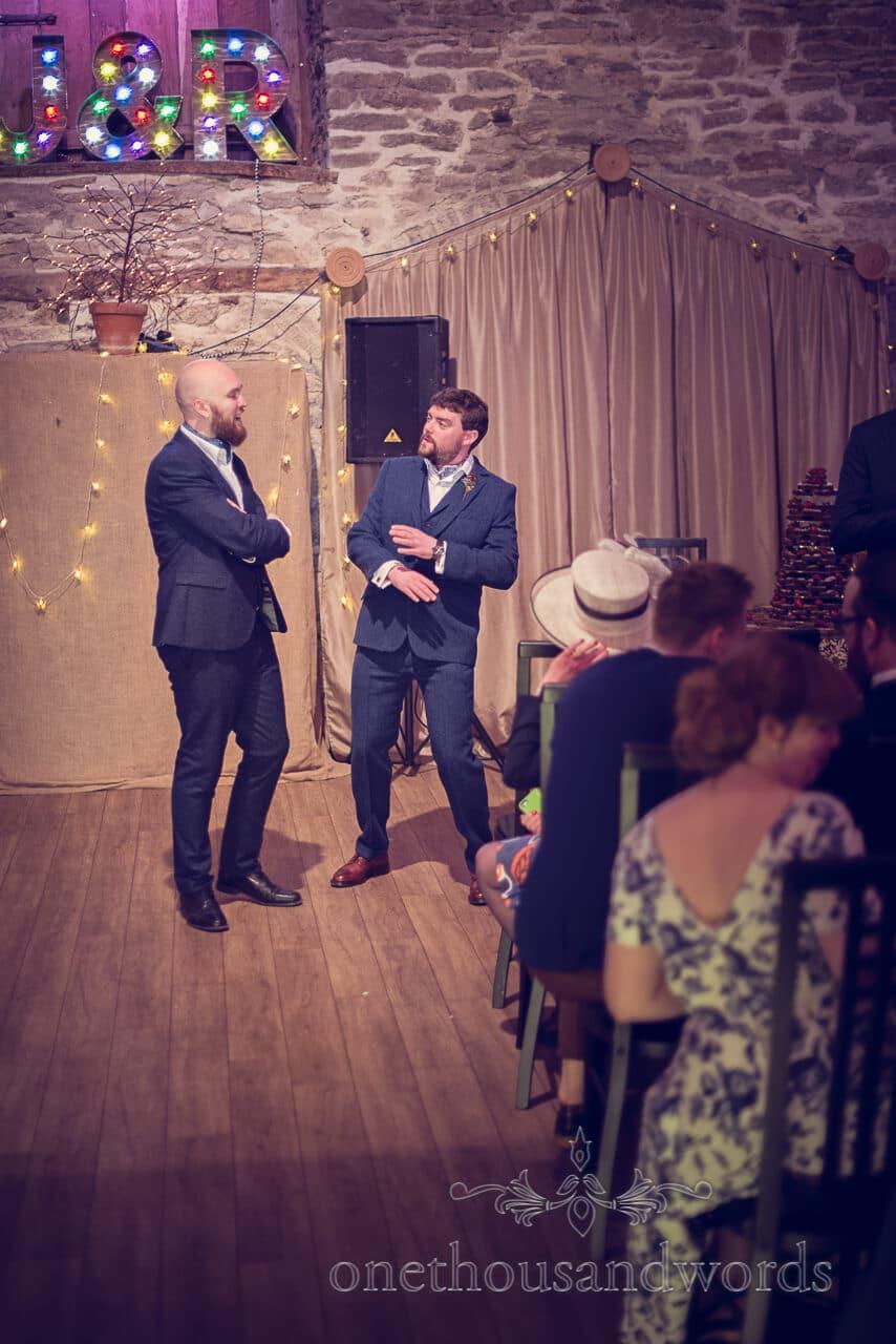 Broom and best man at Barn Wedding