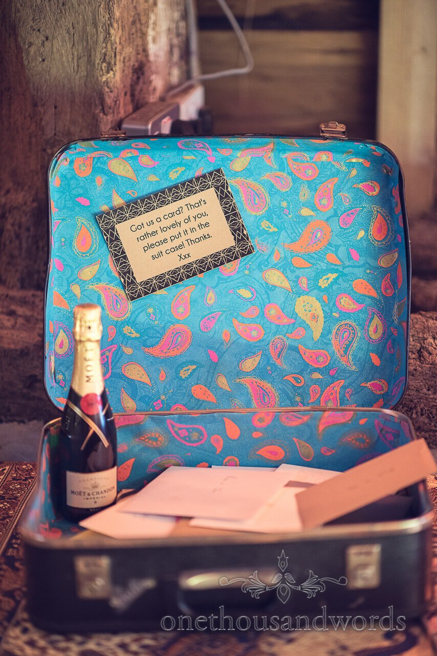 Card suitcase at Barn Wedding