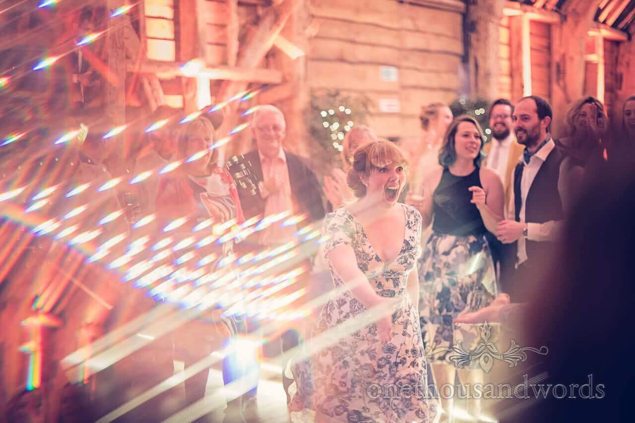 Dance floor at Barn Wedding