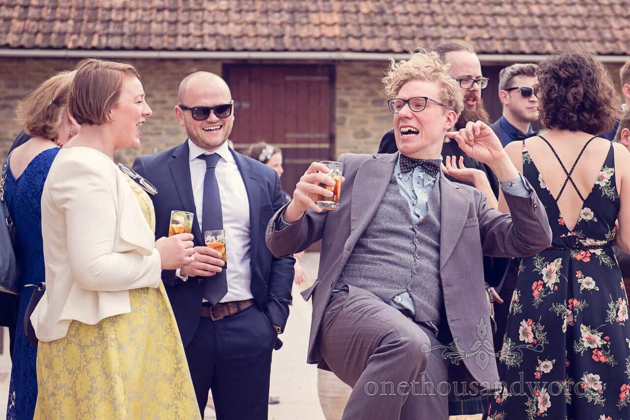 Dancing guest at Barn Wedding