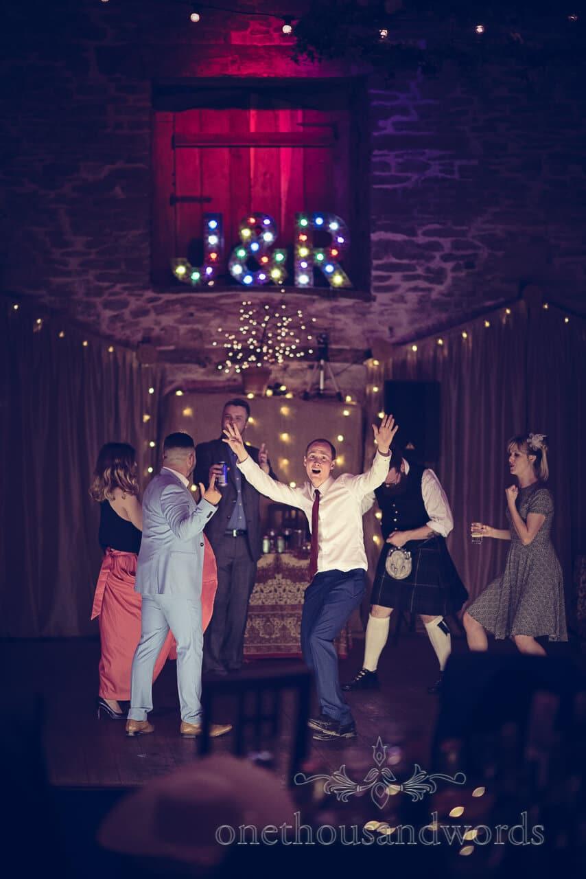 Dancing guests at Barn Wedding