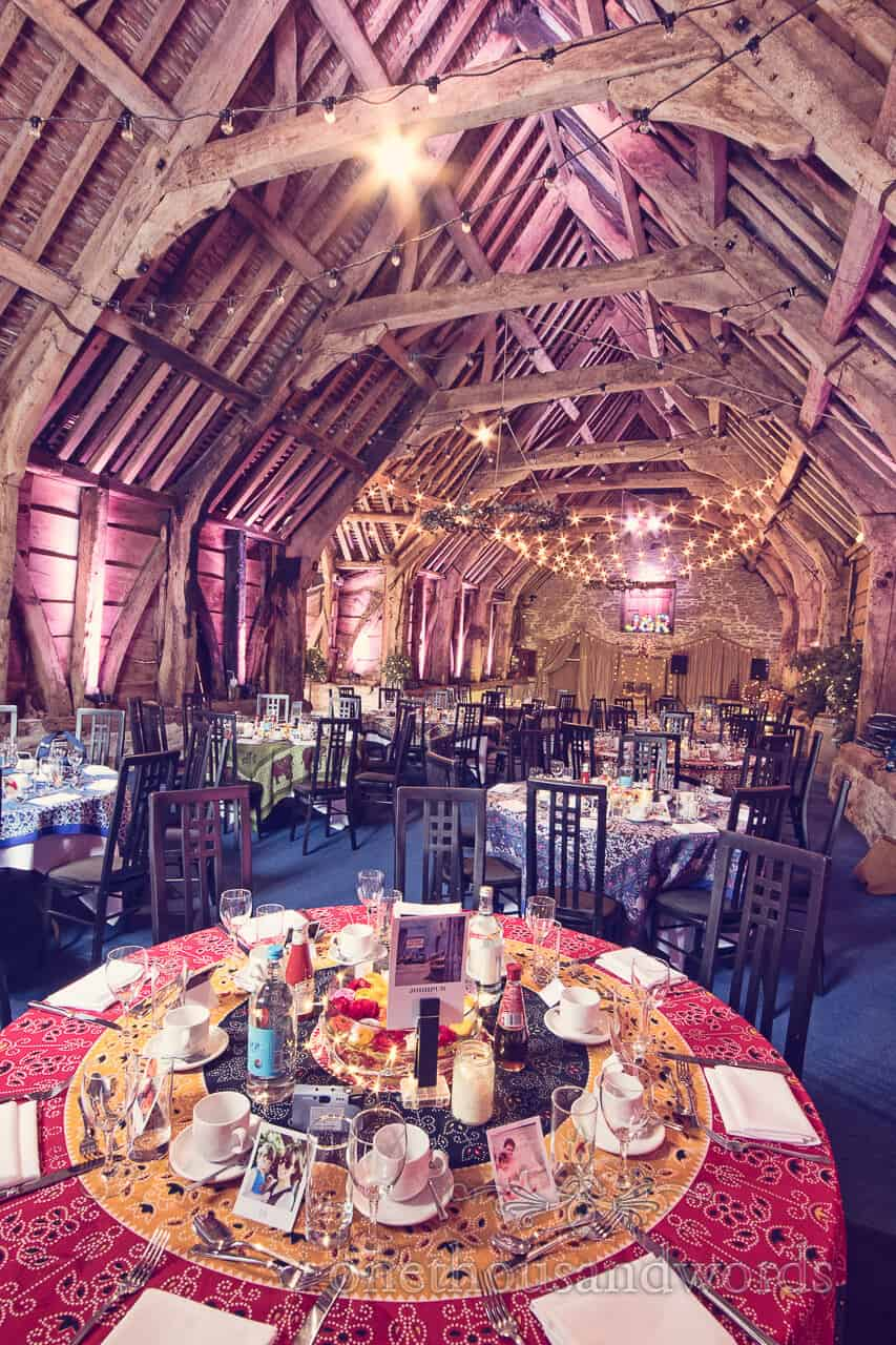 Decorated interior at Barn Wedding