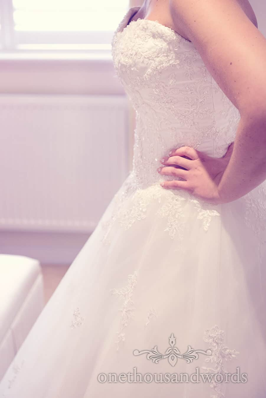 Dress detail at Haven hotel wedding