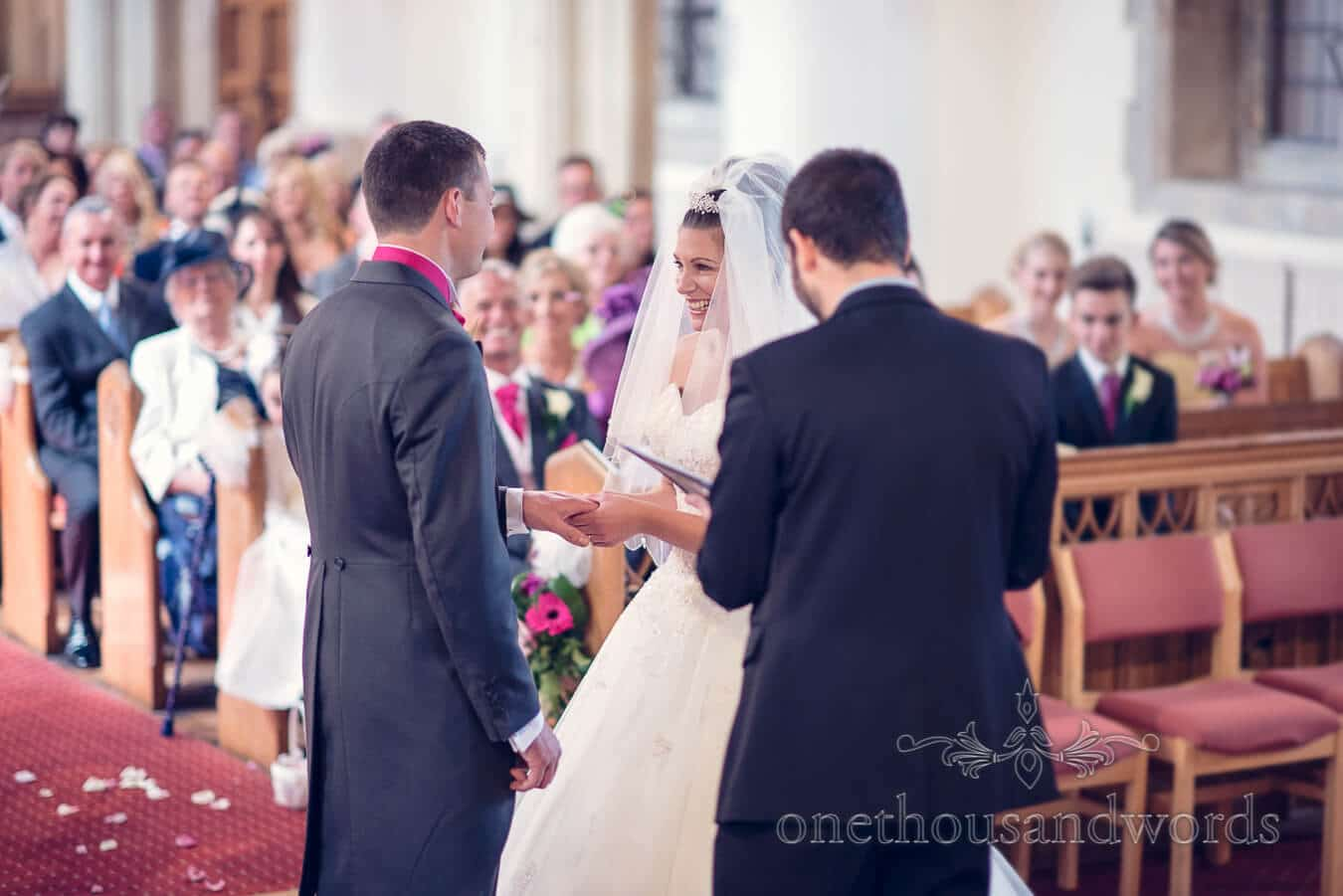 Exchange of vows during church wedding