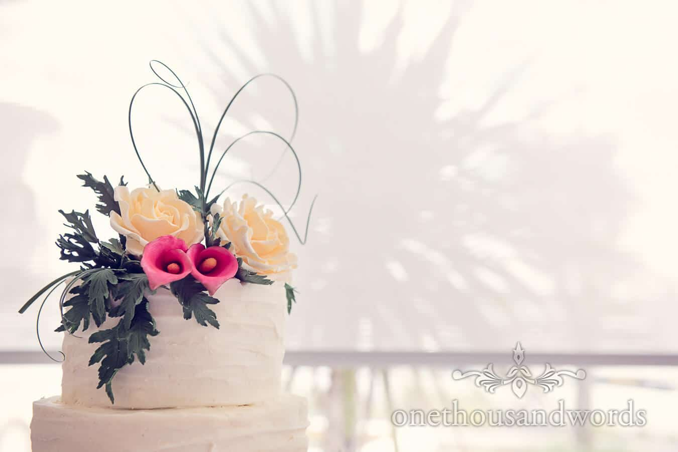 Yellow and Pink Wedding Cake