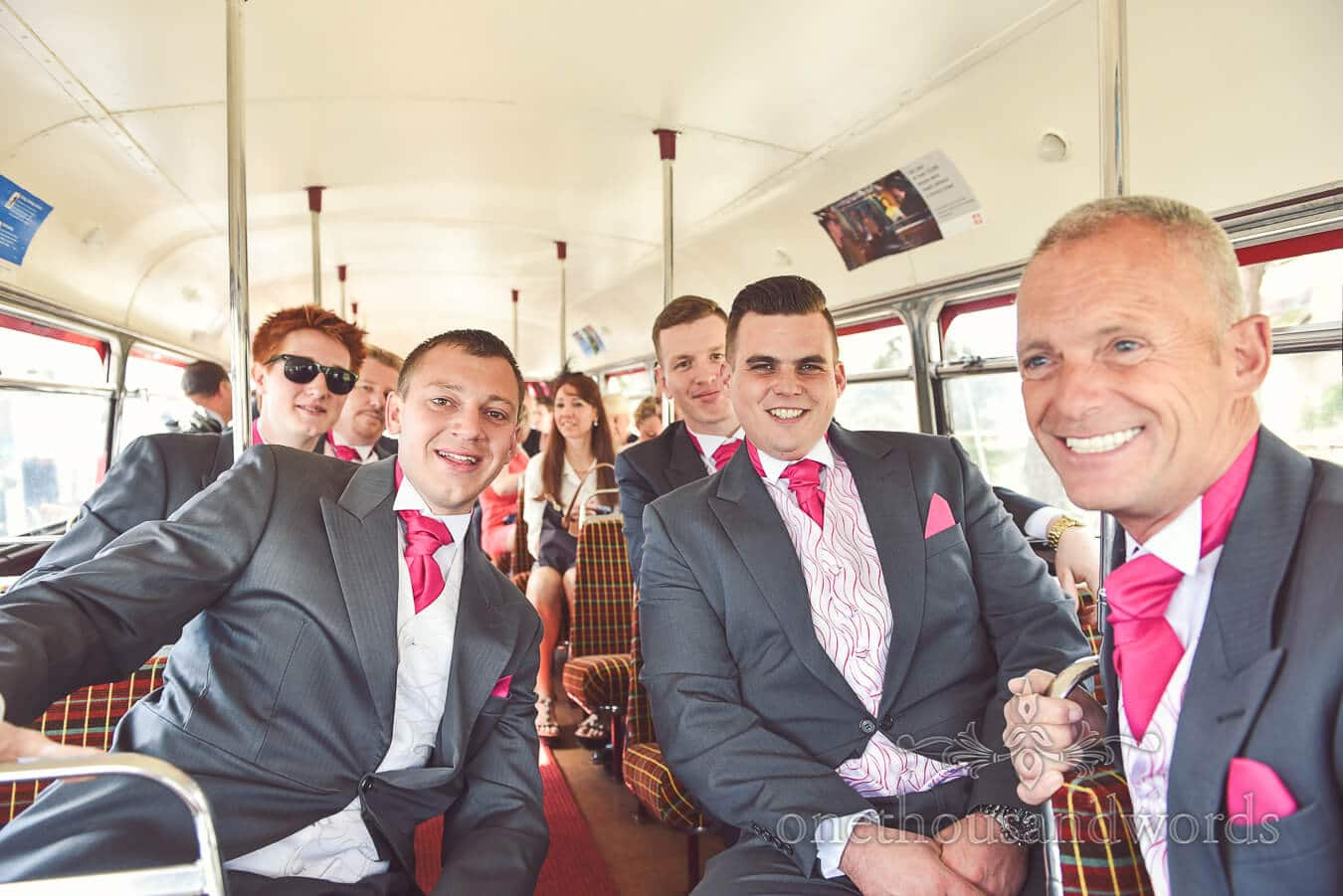 Groom and groomsmen on the bus from Haven hotel wedding