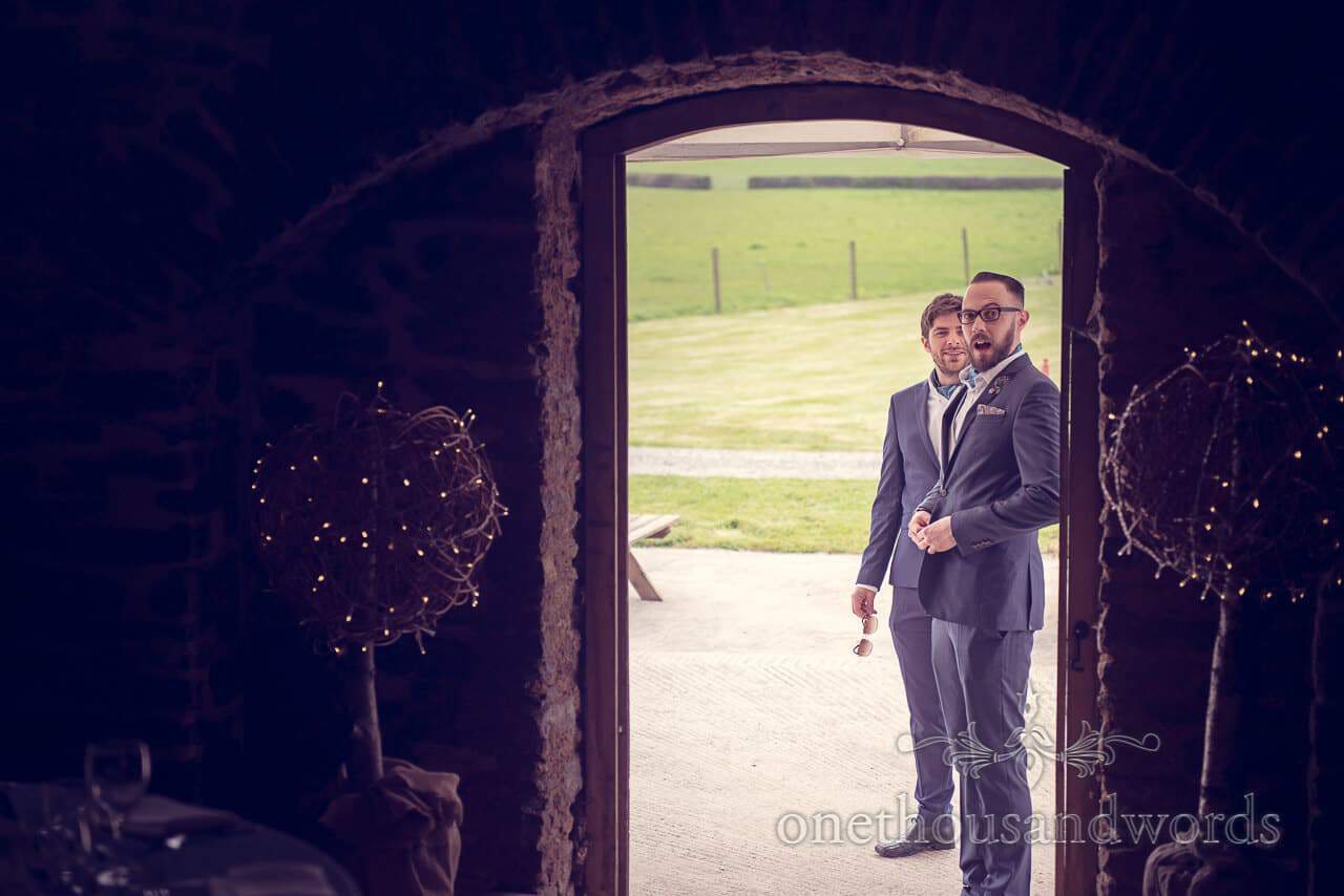 Groomsmen outside at Barn Wedding