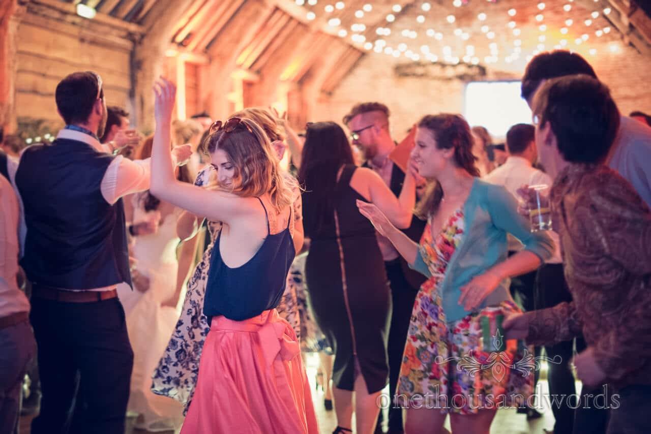 Guests dancing at Barn Wedding