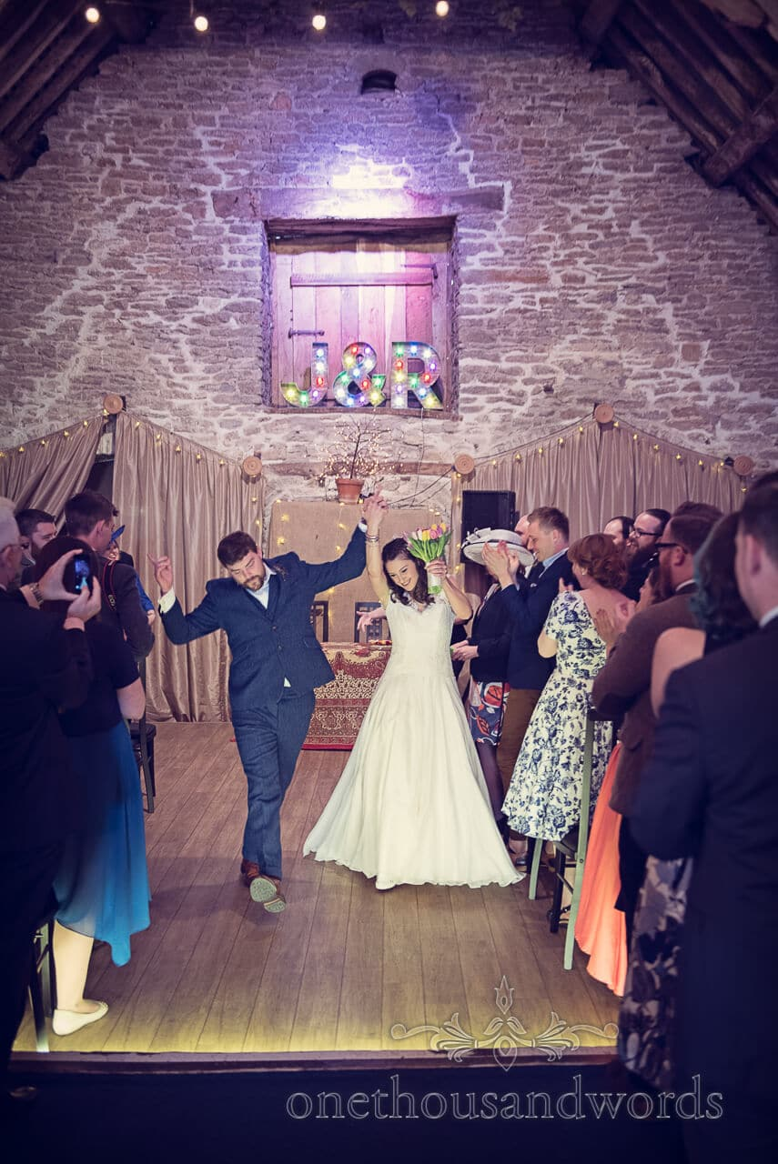 Just Married at Barn Wedding