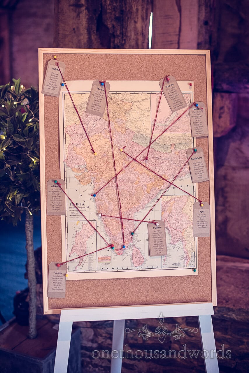 Map of India table plan at Barn Wedding