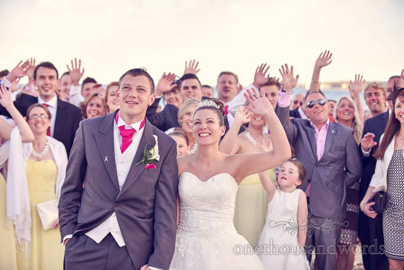 Newlyweds and guests at Haven hotel wedding