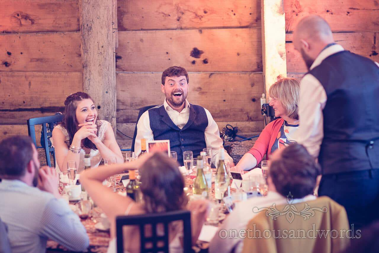 Newlyweds reaction during speech at Barn Wedding