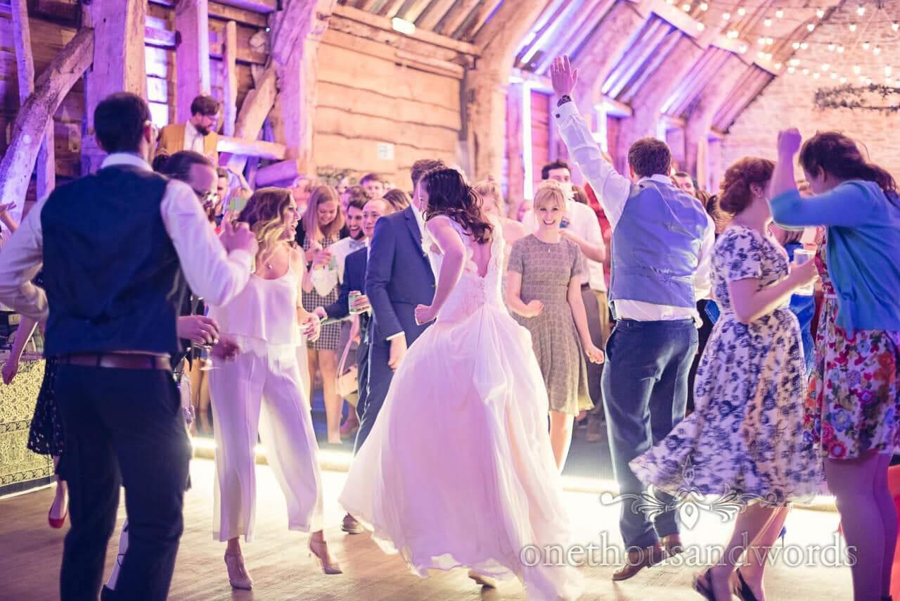 Packed dance floor at Barn Wedding