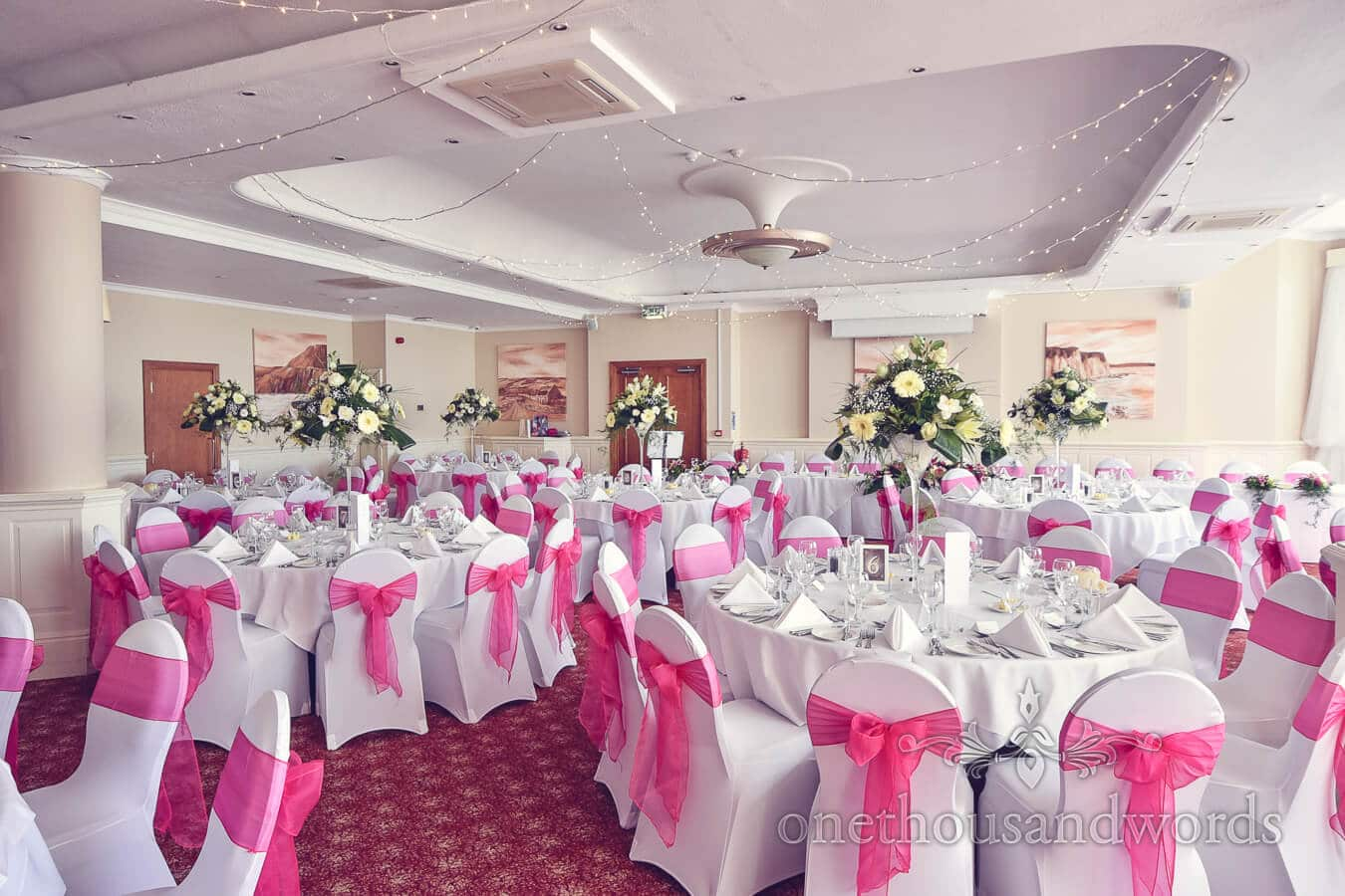 Pink and yellow wedding photographs at the haven hotel for Pink and yellow wedding theme ideas