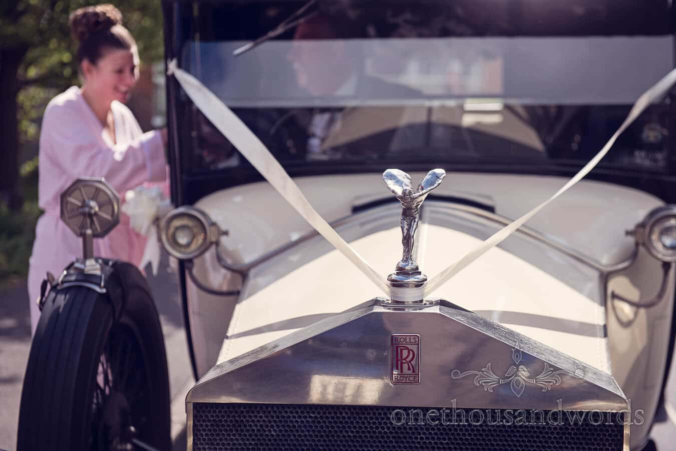Rolls Royce wedding car on wedding morning