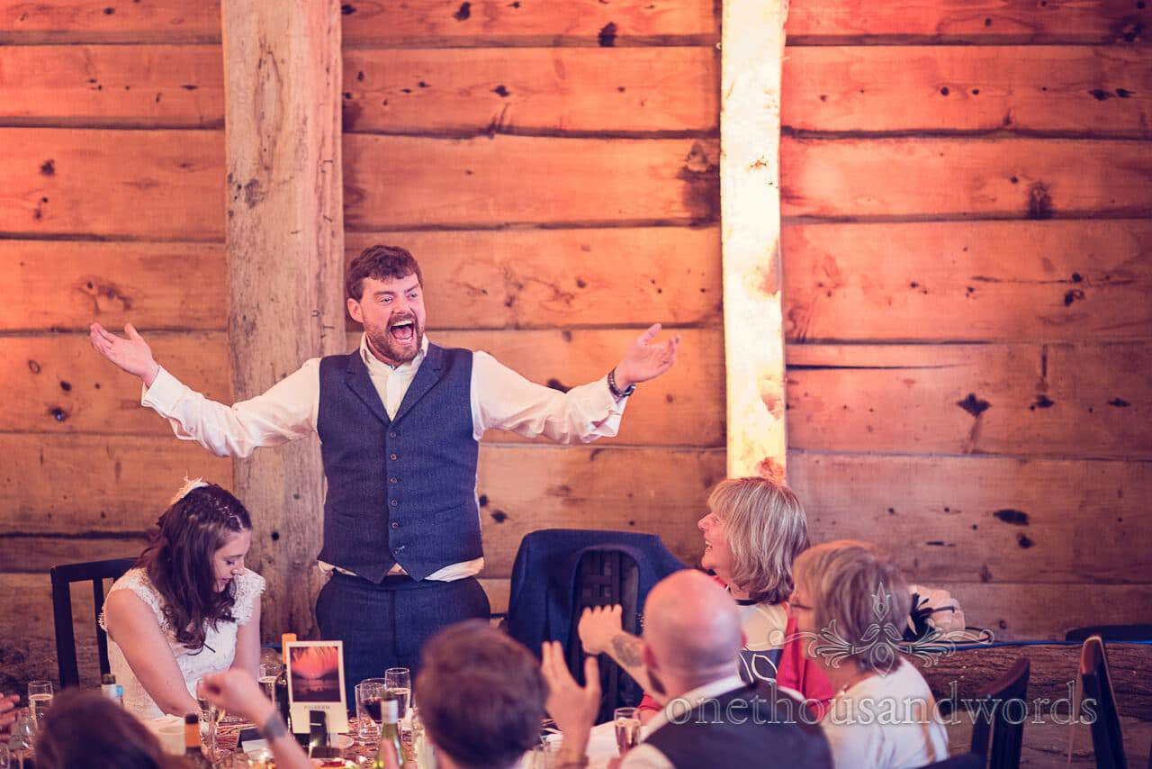 The groom warms up for his speech at Barn Wedding