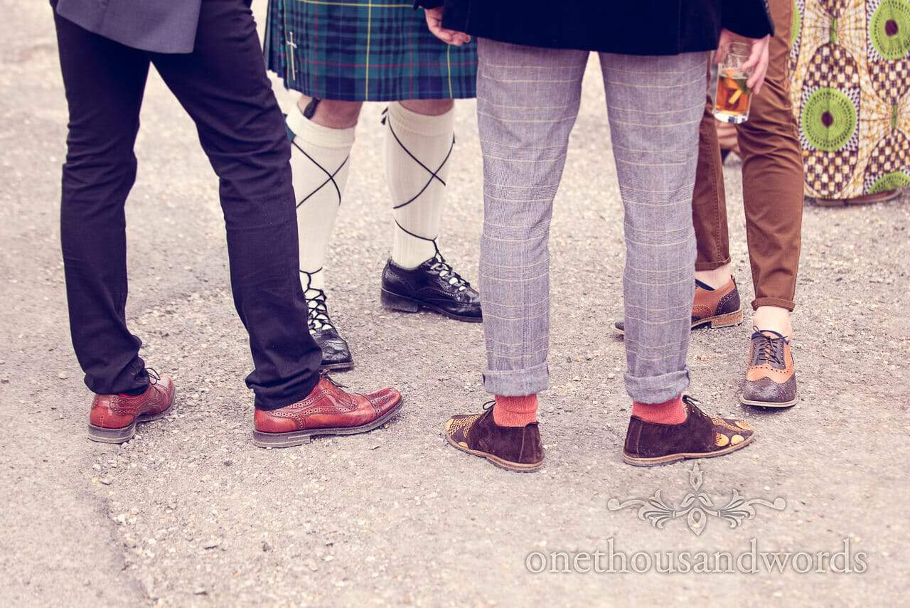 Various styles of shoe at Barn Wedding