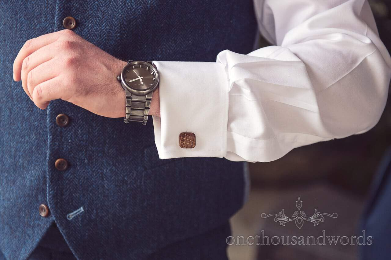 Watch and cuff link detail at Barn Wedding