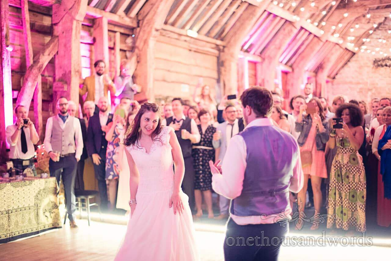 Wedding couple during first dance at Barn Wedding