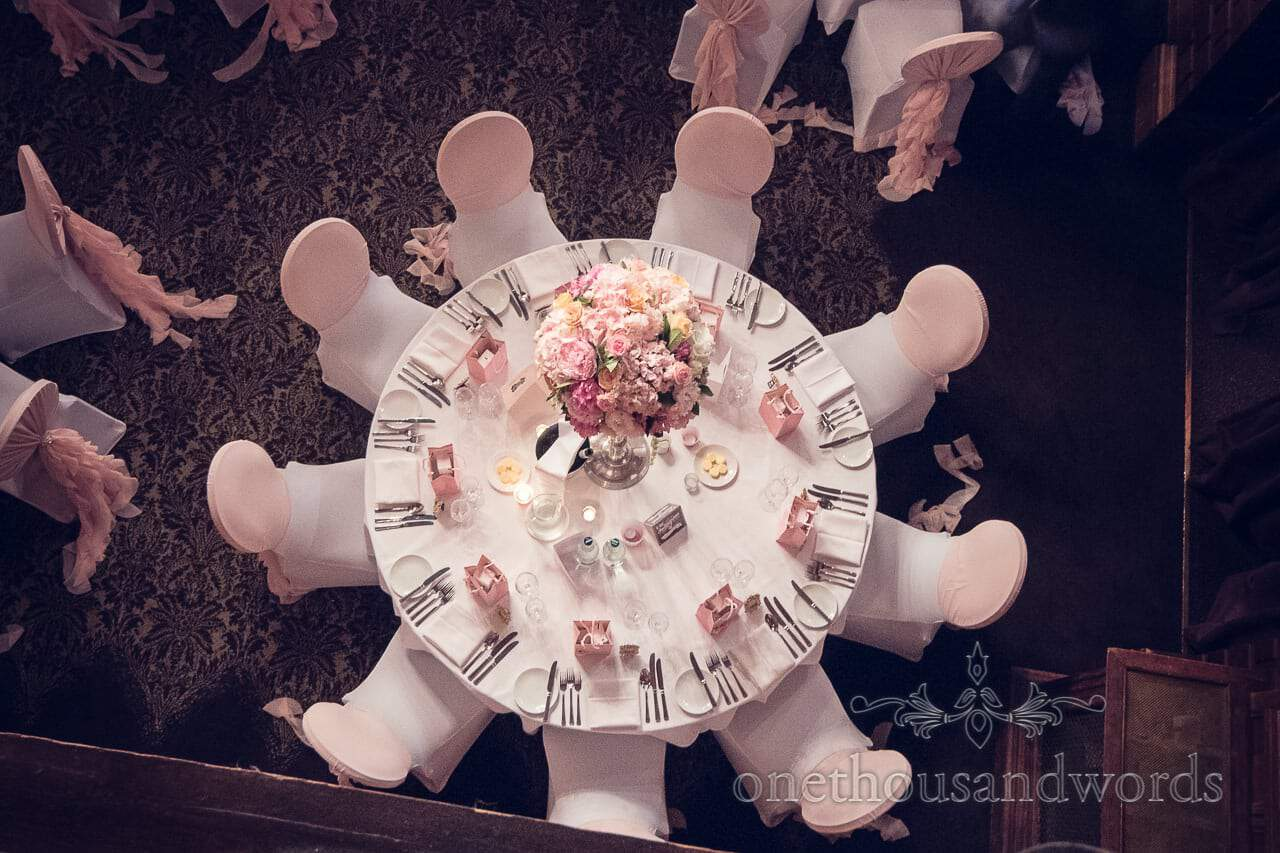 Aerial view of table from Rhinefield House Wedding