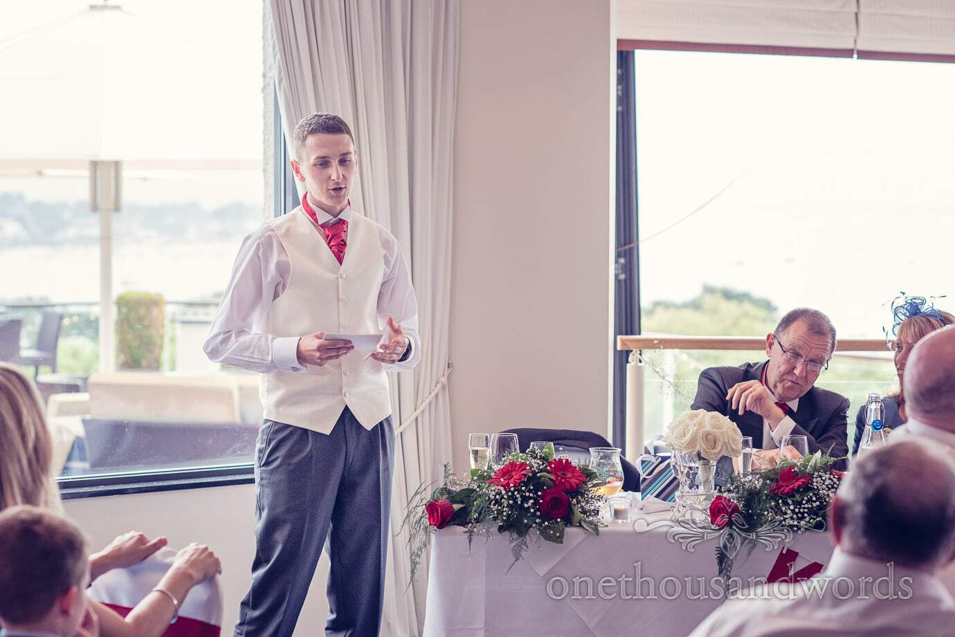 Best man during speech at Harbour Heights wedding photos