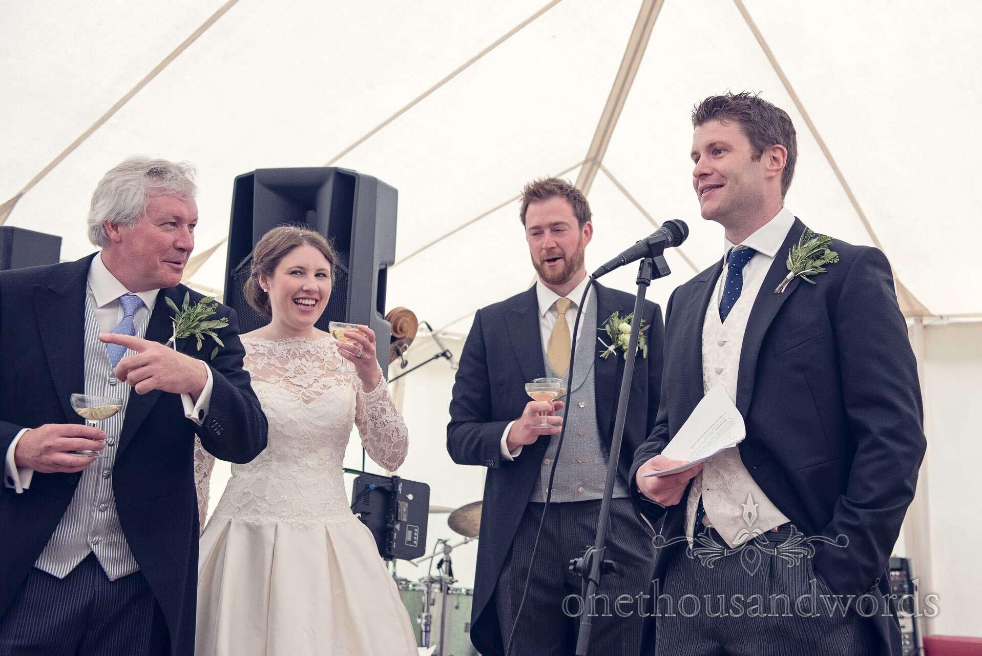 Best Man's Speech at marquee wedding in Wareham