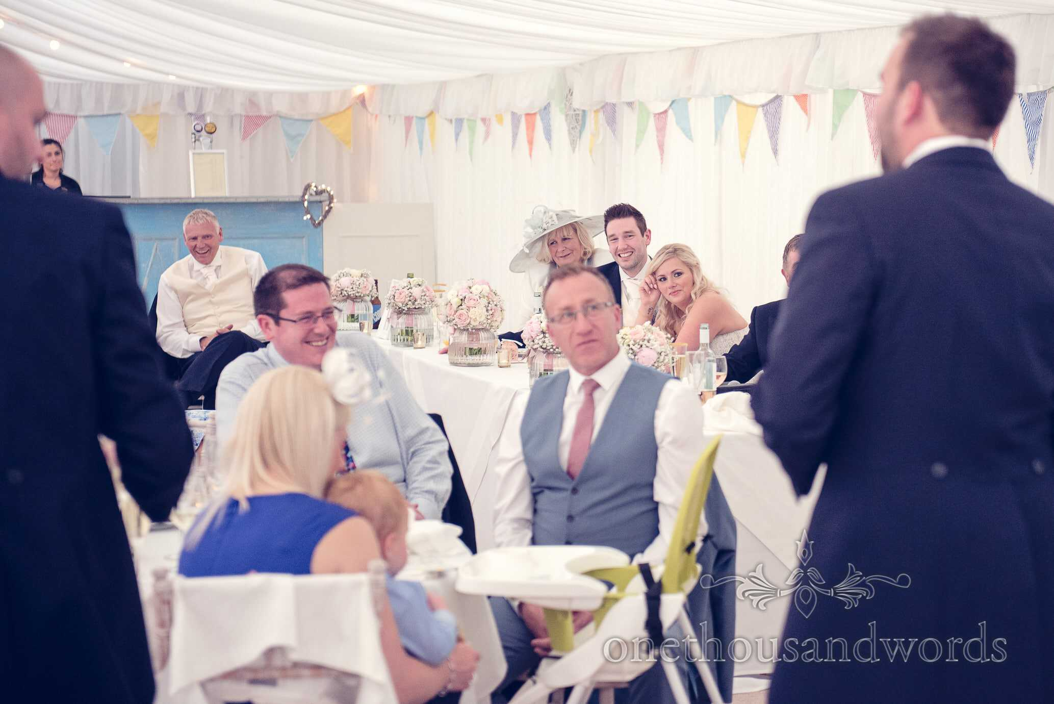 Best men's speeches in marquee at Deans Court Wedding