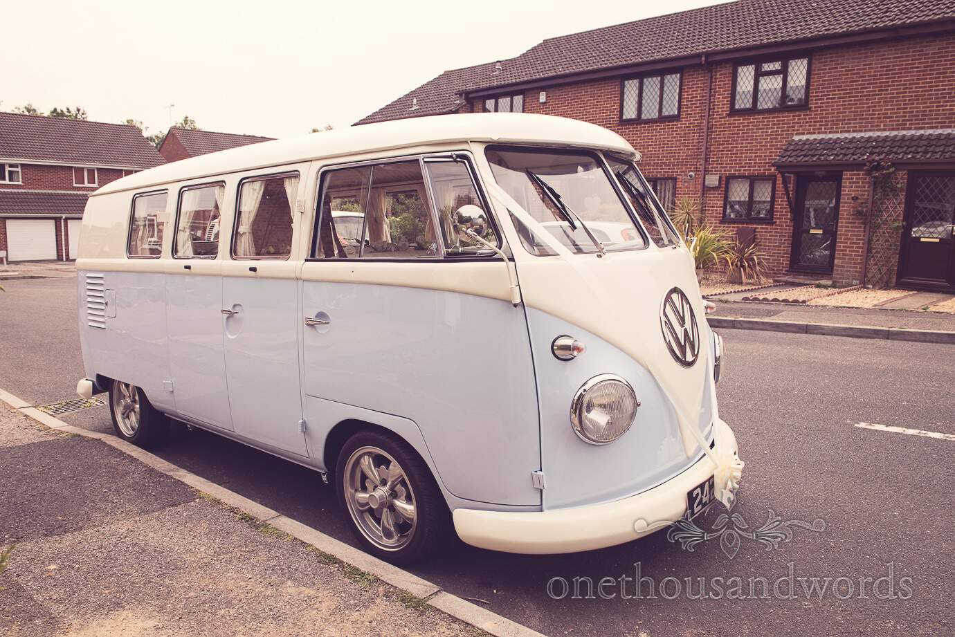 Blue split screen wedding VW campervan from Dorset Dub Hire