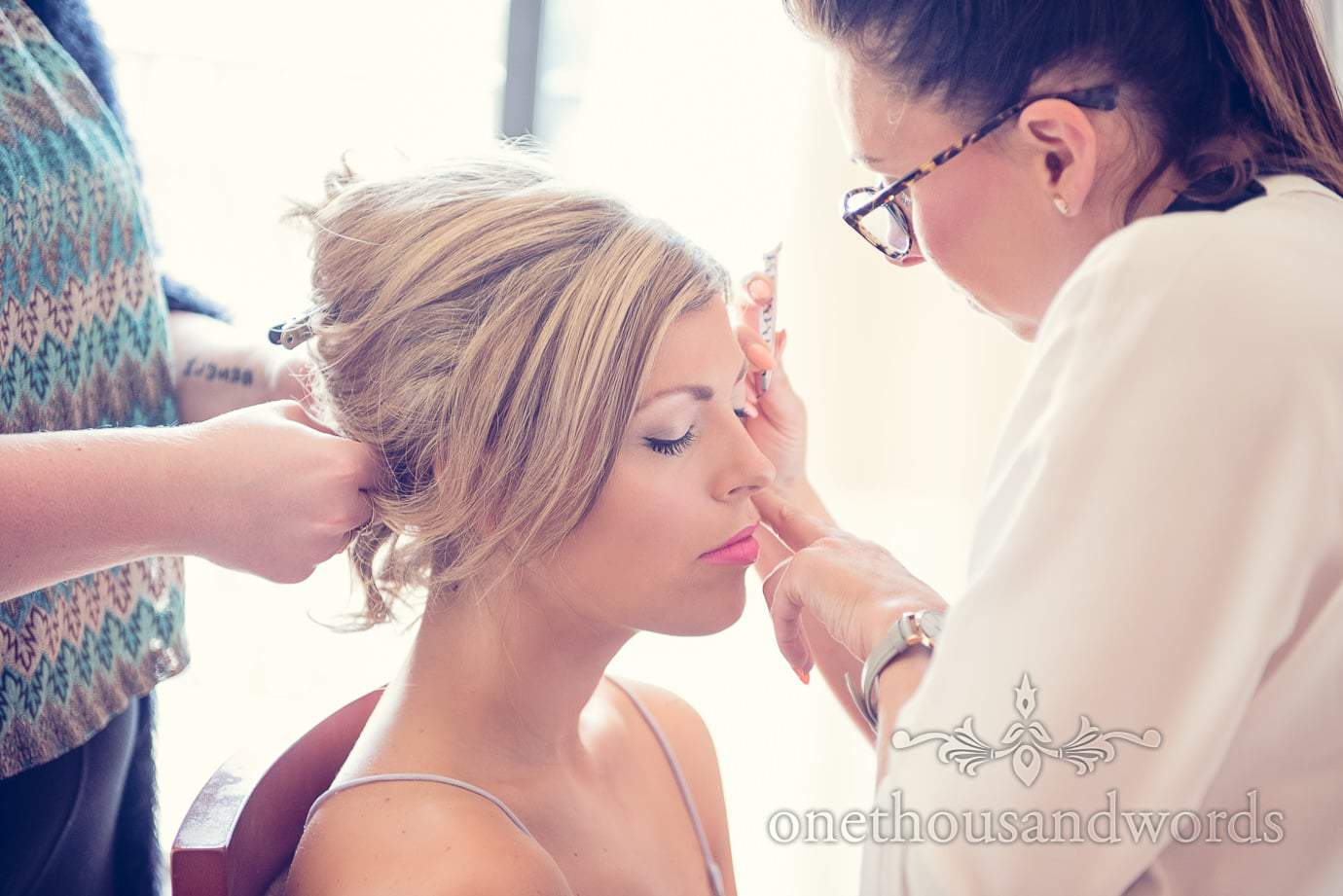 Bridal hair and makeup at Italian Villa wedding photographs