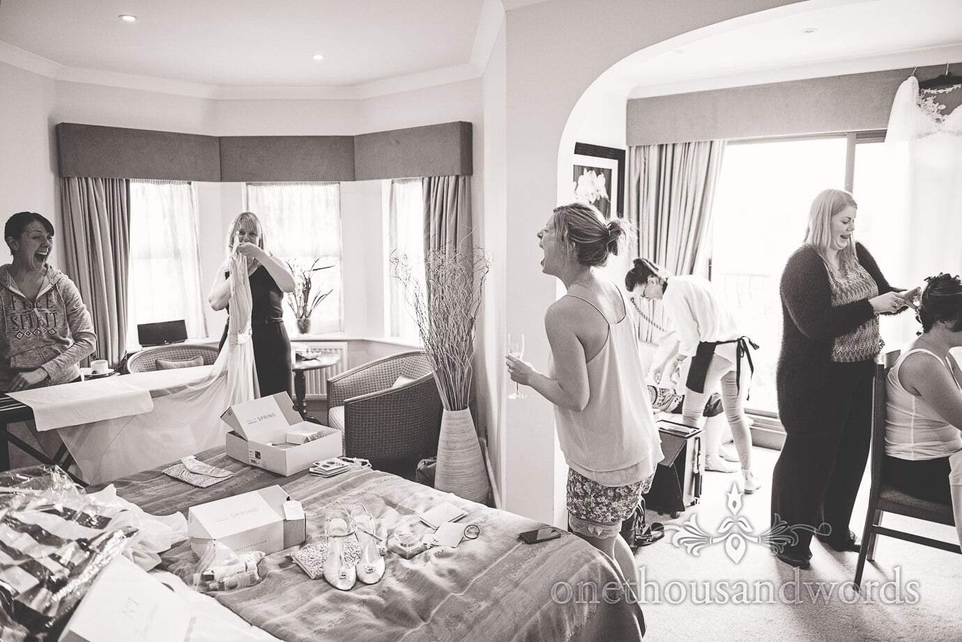 Bridal preparation before Italian Villa Wedding Photographs